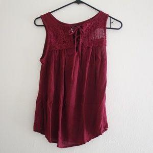 No Boundaries maroon peasant blouse size m (7-9).